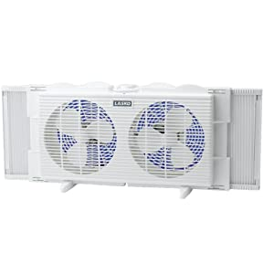 Lasko 2137 Twin Window Fan, 21.8 x 4.5 x 10.5 inches, White
