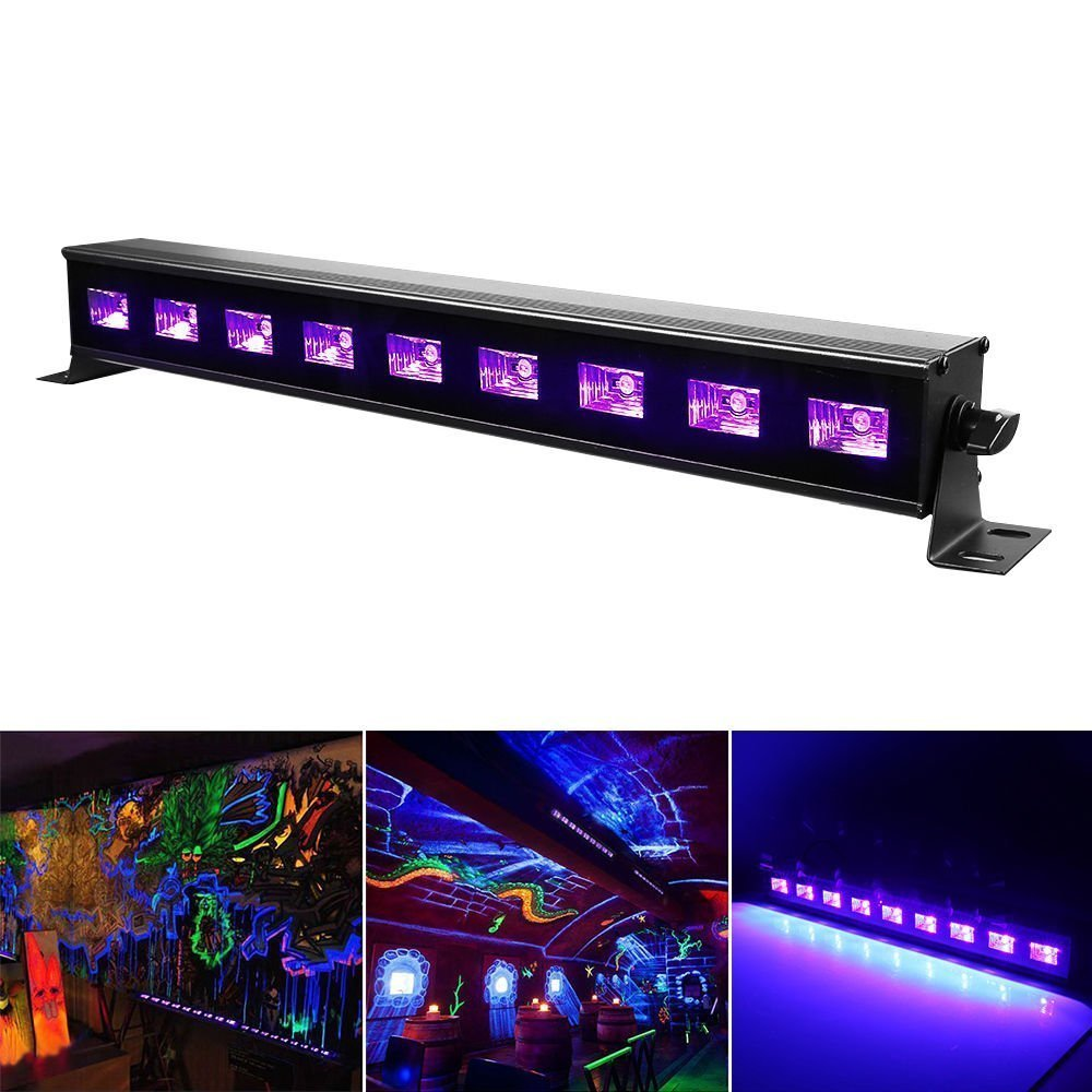 JUDYelc UV Black Lights Waterproof LED Wall Washer with 9 LEDs Bar 27W Metal Housing Professional Engineering Effect Light with Switch (9-bulbs)