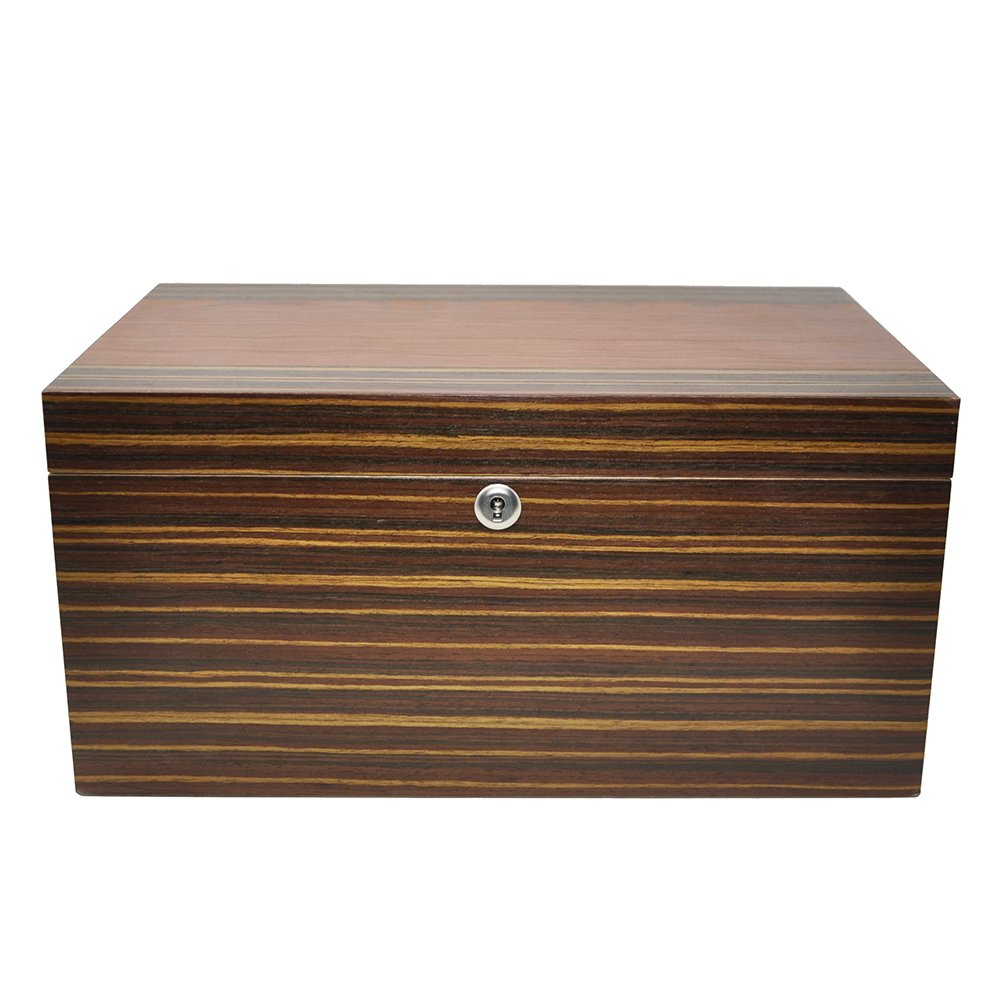 LOLIFUN Wood Cigar Humidor holds up to 100 cigars Size:380X250X185mm(15X9.84X7.28inch) with HYGROMETER, HUMIDIFIER AN-0847