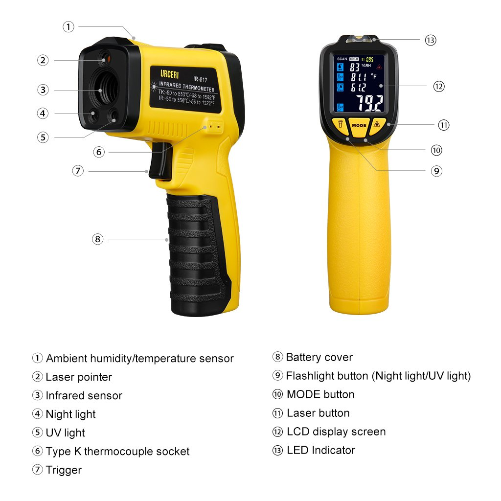 URCERI Infrared Thermometer IR-817-58°F~1022°F (-50°C~550°C) Digital IR Temperature Gun Non Contact Laser with Color Display K-Type Thermocouple for Cooking Kitchen Food Meat Grill by URCERI (Image #2)