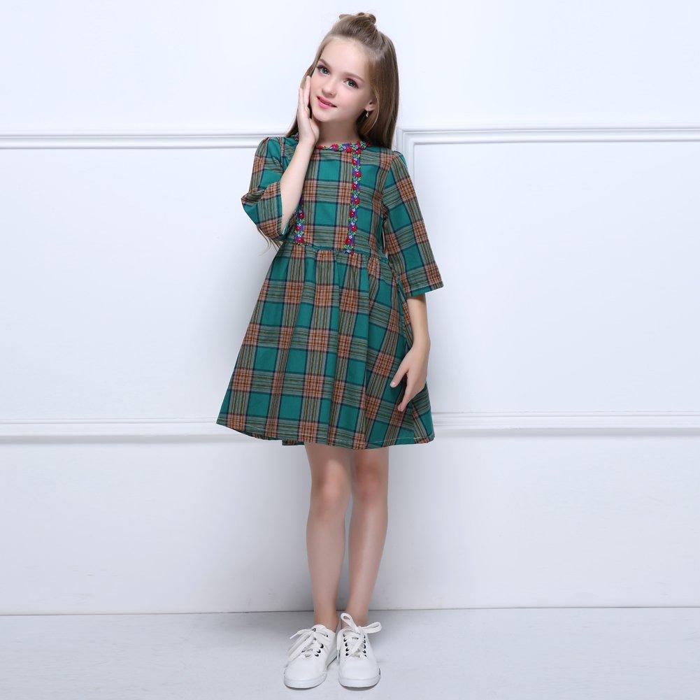 12406e7fc3a Amazon.com: Kseniya Kids Big Little Girls Plaid Dresses Three ...