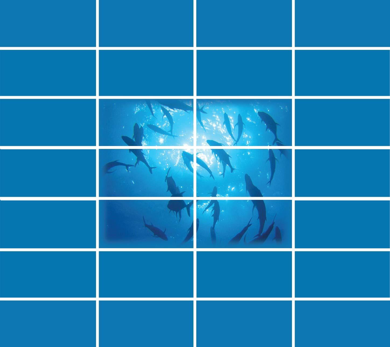 Golden Eagleインテリア&グラフィックスCompleteドロップ天井タイルスキン魚学校教育キット – 2 x 4グリッド接着Up 14x16 ブルー 14x16  B07D3BRQDL