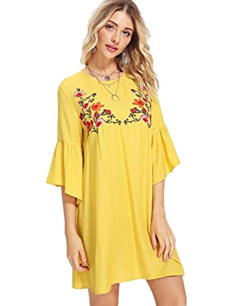3eee25216859 Floerns Women's Half Sleeve Floral Embroidery Casual Mini Swing Dress at Amazon  Women's Clothing store: