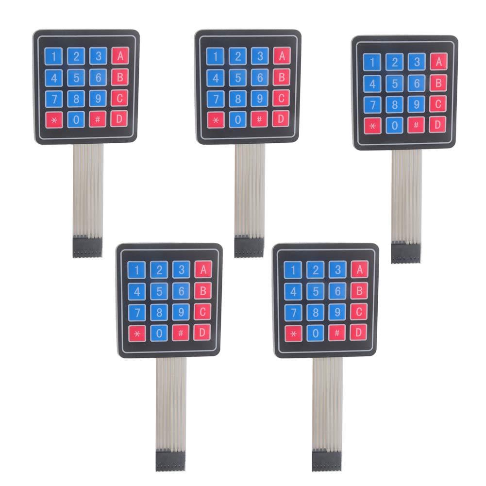 Pack of 5 4x4 16 Keys Matrix Array Membrane Keypad Switch 8pin Keyboard Module for Arduino Microcontroller WIshioT