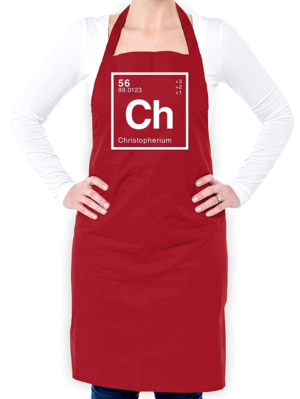 CHRISTOPHER - Periodic Element - Unisex Fit Apron - Red - One Size