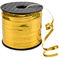 Gold Ribbon for Gift Wrapping 5mm × 90m Balloon Ribbon Glitter Satin Ribbon for Crafts Bouquet Boxes Florist Bows…