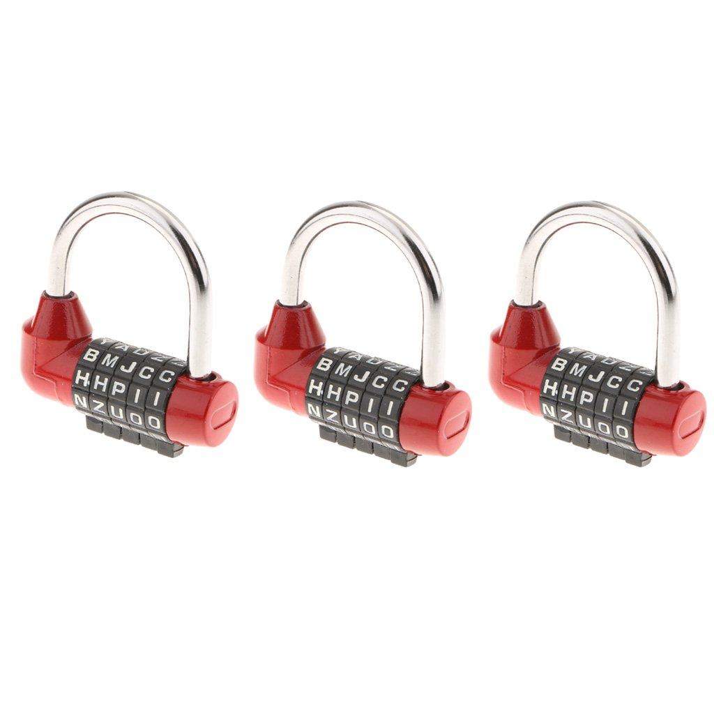 Baoblaze 3Pack 5 Letter Combination Lock Resettable Zinc Alloy Code Padlock for School Gym Locker,Sports Locker,Fence,Toolbox,Case,Hasp Storage