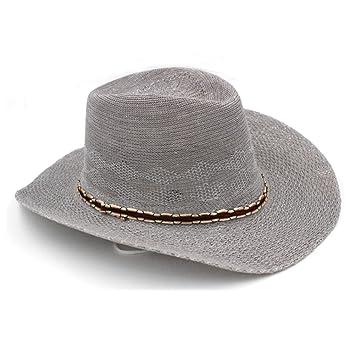 e362f94ff20 GHMM Straw Hat Men s Summer Wide-brimmed Beach Hat Western Cowboy Sunshade  Hat Outdoor Breathable