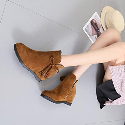 Amazon.com: Amiley women boots winter,Clearance Sale Women Suede Wedges Zipper Tassel Ankle Boots Casual Shoes Martin Boots Booties Winter (Brown, ...