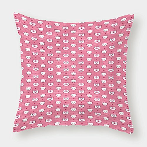 Pink Bedding Dot Furry (iPrint Microfiber Throw Pillow Cushion Cover,Cat,Adorable Funny Kitten Faces Expressions Smiling Furry Cartoon Characters on Polka Dots Decorative,Pink White,Decorative Square Accent Pillow Case)
