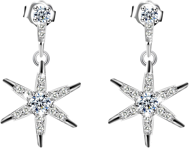 Amilril Pendientes Collar Mujer, Diseño de Estrella Cuelga los Gancho Aretes Plata de Ley 925 Clásico Joyería para, Navidad Joyas Regalos Originales