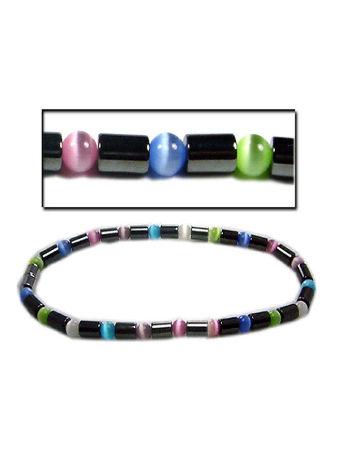 Accents Kingdom Women's Magnetic Hematite Color Cats Eye Bead Anklet Bracelet, 10''