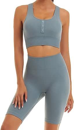 Toplook Seamless Yoga Workout Outfits for Women Squat Proof 2 Piece Set Gym Biker Shorts + Sport Bra