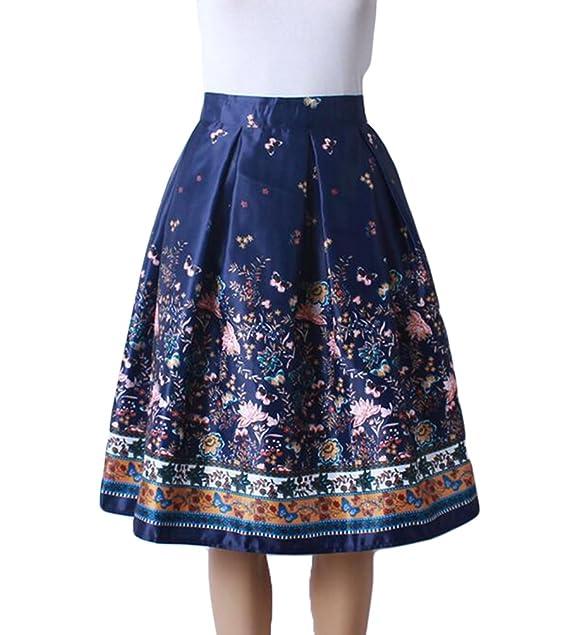 e1a87b61e ZKOO Moda Falda para Mujer Casual Faldas de Rodilla Longitud Midi ...