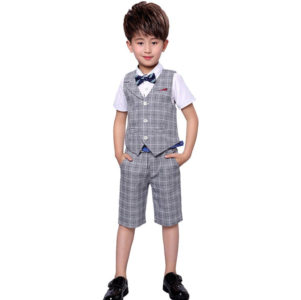 LOLANTA 4 Pieces Boys Summer Wedding Leisure Suit Vest Shirt Short with Bowtie (Grey, 6-7) by LOLANTA (Image #1)
