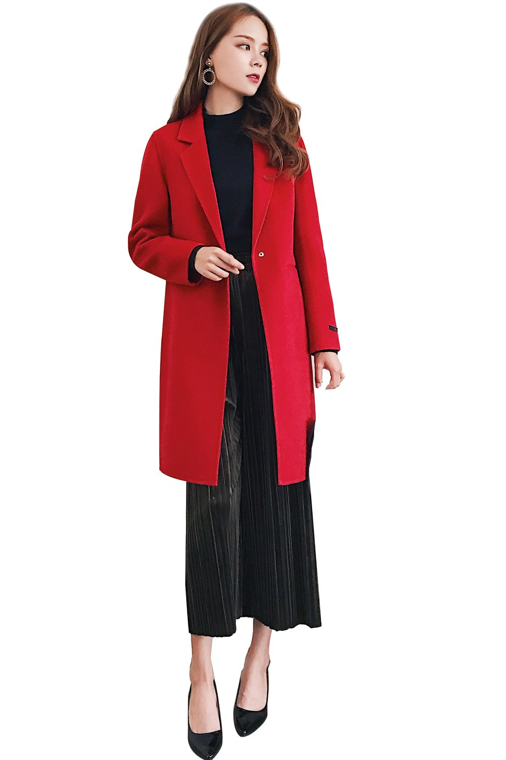 CG Winter Warm Wool Coats for Women Doubles-Sided Wool Elegant Design Suit for Any Occasion G0057 (XL, Red)