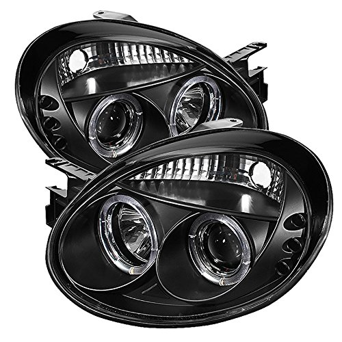 [For 2003-2005 Dodge Neon] LED Halo Ring Black Projector Headlight Headlamp Assembly, Driver & Passenger Side