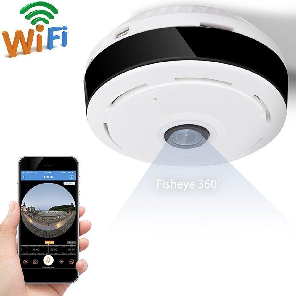 WI-FI Cámara detectora de humo Mini cámara 360 grados Gran angular 3D HD VR Control remoto Detección de movimiento Visión nocturna Aplicación SW05: ...