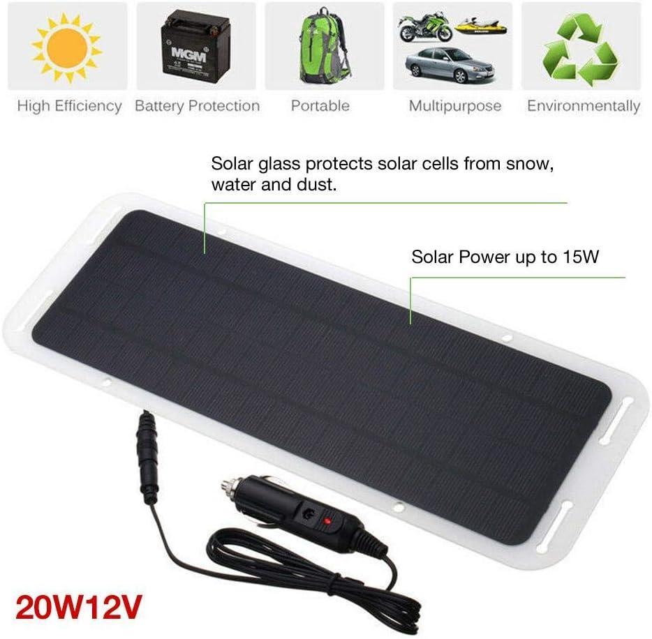 Ploufer Panel Solar, 20W 12V Energía Batería portátil Cargador Solar con Doble Conector USB para teléfonos MP3 Coche de Emergencia al Aire Libre Barco Camping Viajes: Amazon.es: Electrónica