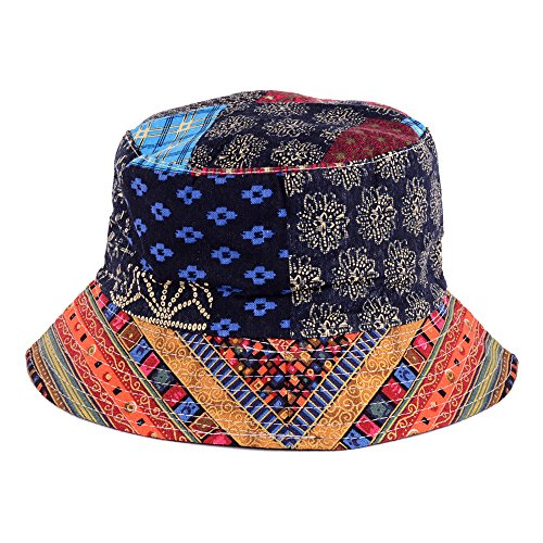 BYOS Fashion Cotton Unisex Summer Printed Bucket Sun Hat Cap, Various Patterns Available (Hippie Patch Multi Red) Summer Patch Cap