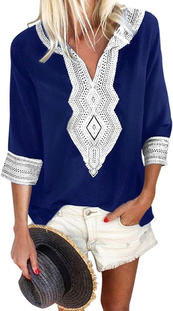 YOINS - Camisa para mujer, estilo étnico, manga larga, cuello en V, camisa vintage, casual azul marino S: Amazon.es: Ropa y accesorios
