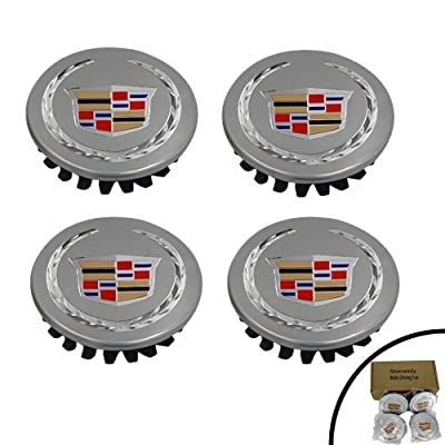 "Shenwinfy 2 5/8"" Wheel Center Hub Caps for 2004-2009 Cadillac, 66mm Chrome Center Cap Emblem for ATS CTS DTS SRX XTS XLR Wheels 9597375 4PCS (Silver): Automotive"
