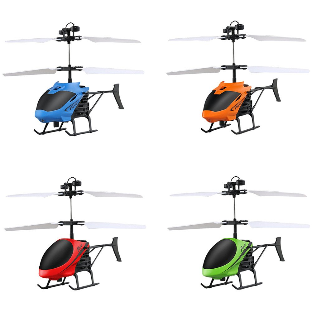 Samber Mini Flying Helicopter Infrared Sensing Induction Aircraft Hand Suspension Drone Creative Mini Flying RC Toy for Kids Children/Green