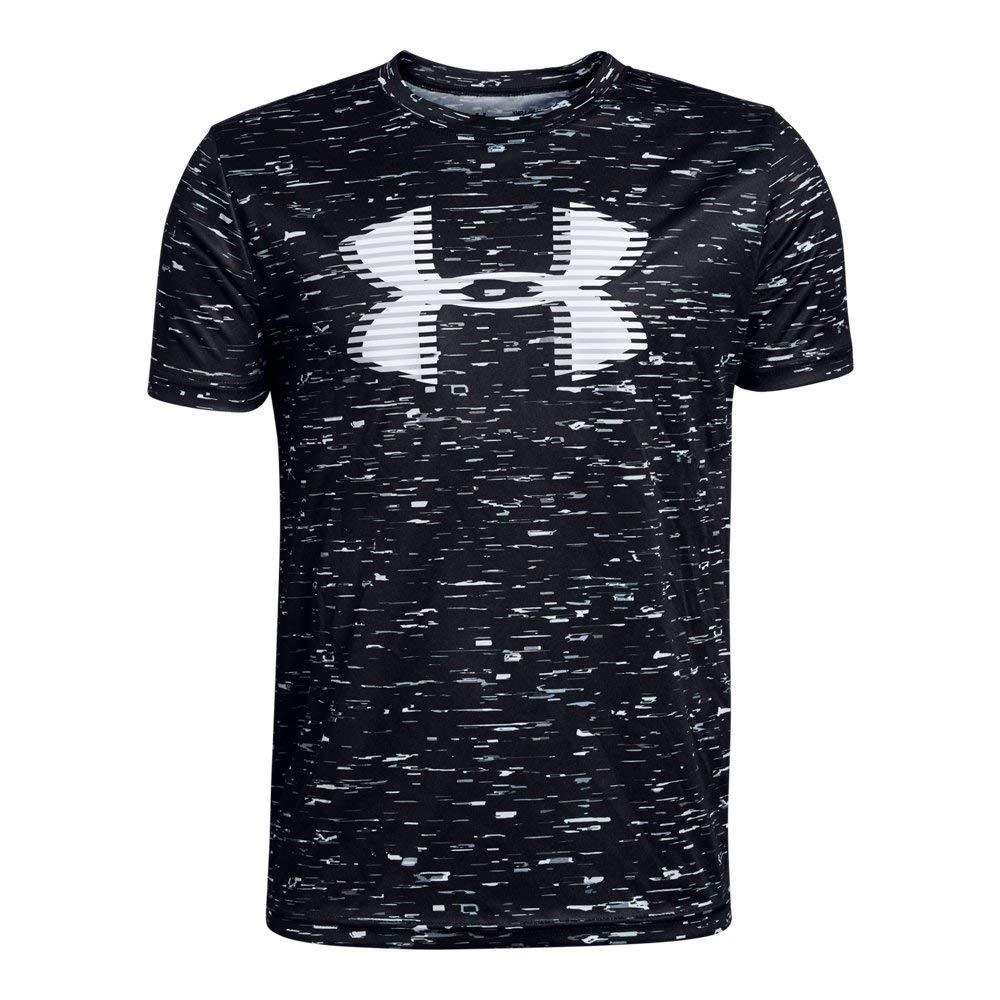 Under Armour Boys' Tech Big Logo Printed T-Shirt, Black (002)/White, Youth X-Small