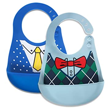 f1a806ee0ef Amazon.com  Baby Waterproof Bibs Silicone Bib for Babies and Toddlers with  Various Styles Bowtie Fashion Suit  Baby