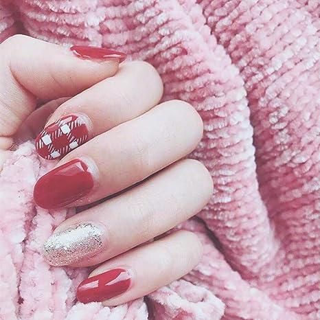 Amazon.com: Edary - 24 uñas postizas de color rojo a cuadros ...