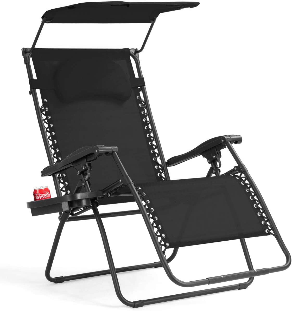 Polar Aurora Zero Gravity Chairs Recliner Lounge Patio Chairs Folding Cup Holder 2 Pack Black