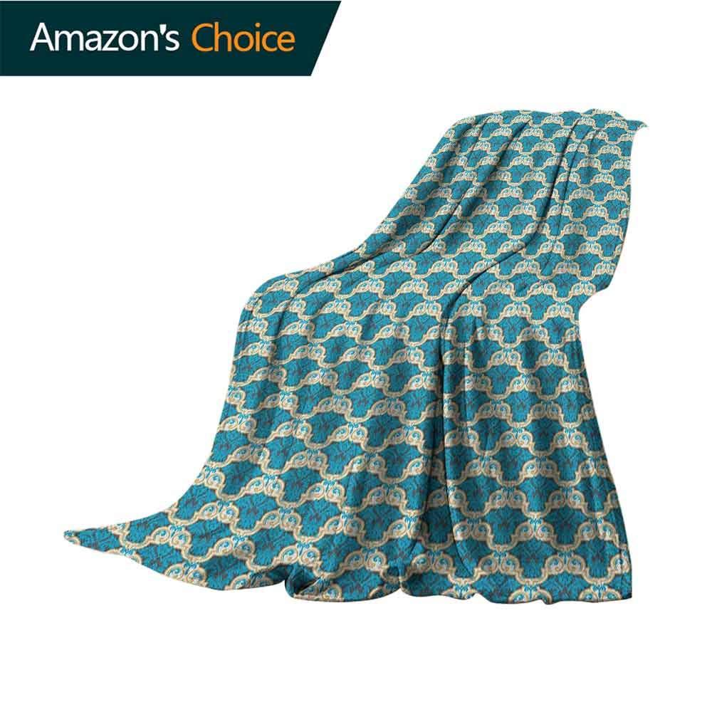 Damask Flannel Blanket,Floral Ornament in Vivid Blue Western Art Inspiration in Victorian Era 300GSM,Super Soft and Warm,Durable Blanket,50'' Wx60 L Sky Blue Cream Grey