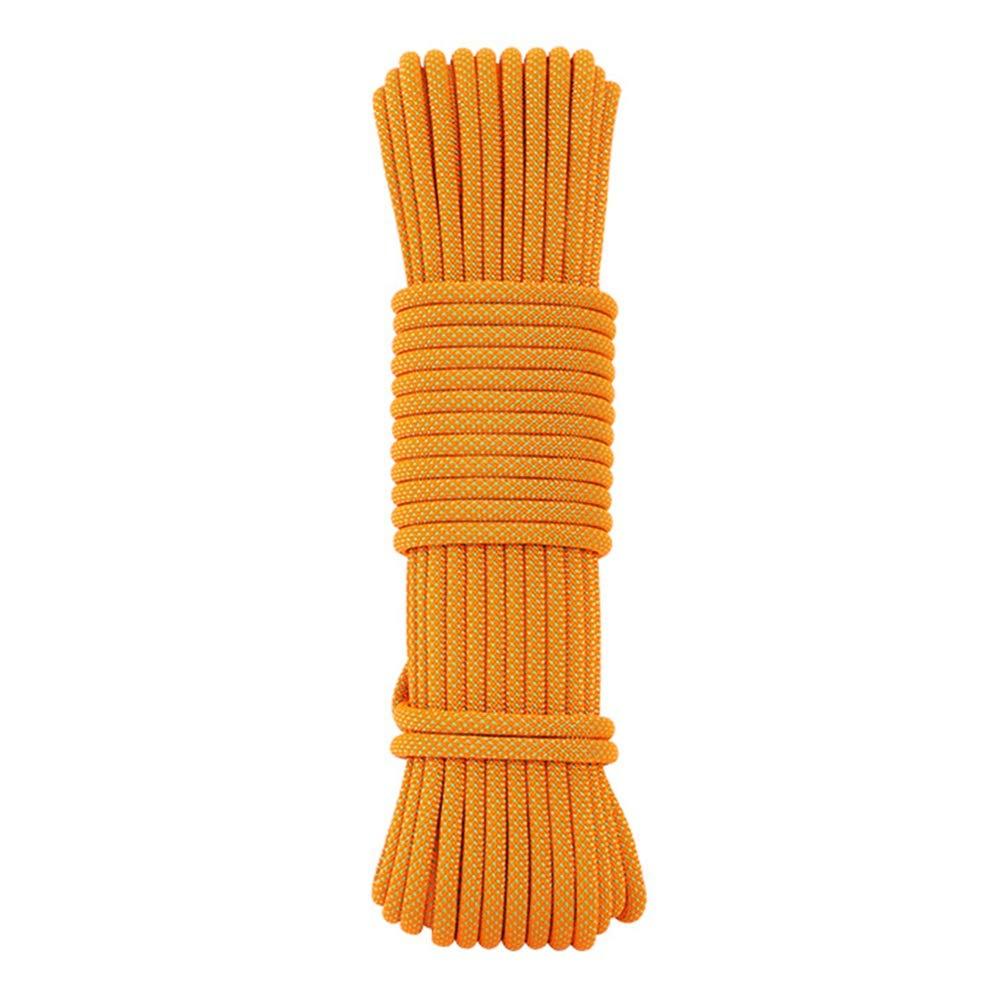 Orange Escalade Corde Corde d'escalade extérieure facultative de 6 Couleurs, Corde de Haute résistance de diamètre de 12mm Corde d'évasion de sécurité d'équipement d'escalade de Secours de Parachute 15m