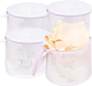Wanapure Large Bra Wash Bag for Washing Machine, Mesh Laundry Bag with Zipper for Lingerie, Delicates, Intimates, Panties, Lace, Underwear, Socks, Tights, Stocking (4 Large)