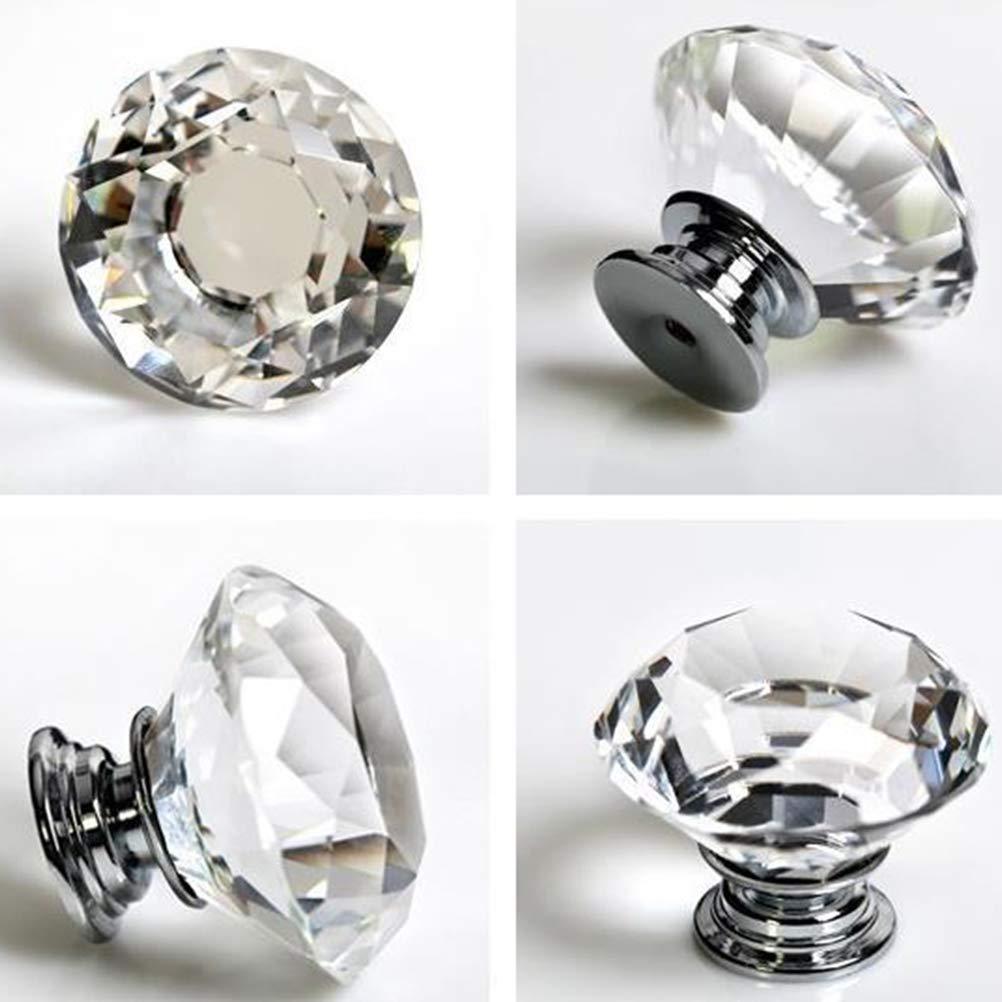 Commode 40/mm Diamant tiroir Porte darmoire Tirer Cristal Poign/ées de Porte avec vis pour Maison de Cuisine Bureau Coffre Bin nuosen Lot de 4/Boutons de Cristal