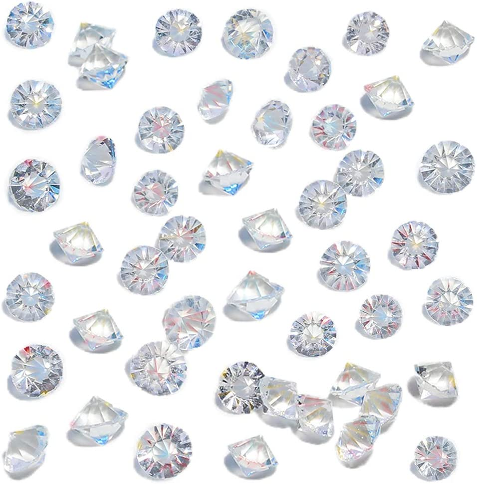 HANSGO Clear Glass Diamonds, 500PCS Beveled Diamonds Small Crystal Gems Pirate Treasure 10mm Fake Diamonds Wedding Favor Table Centerpiece Decorations
