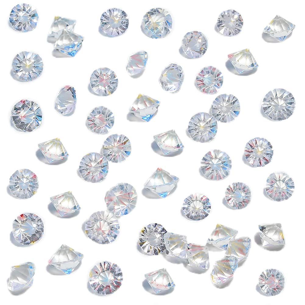 HansGo Clear Glass Diamonds 500PCS Crystal Gems Pirate Treasure 10mm Fake Diamond Wedding Favor Table Centerpiece Decorations