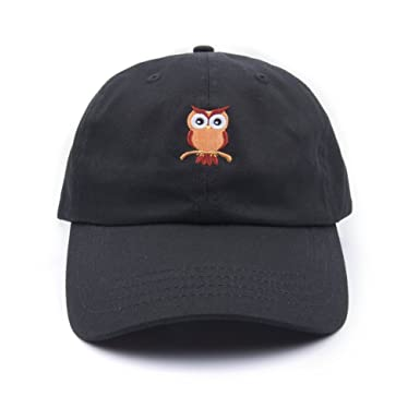 Cute Dad Hat Cotton Baseball Cap for Men Women with Owl Embroidery Black 1fce227072a