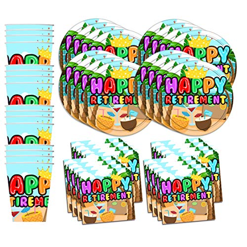 Birthday Galore Retirement Party Supplies Set Plates Napkins Cups Tableware Kit for -