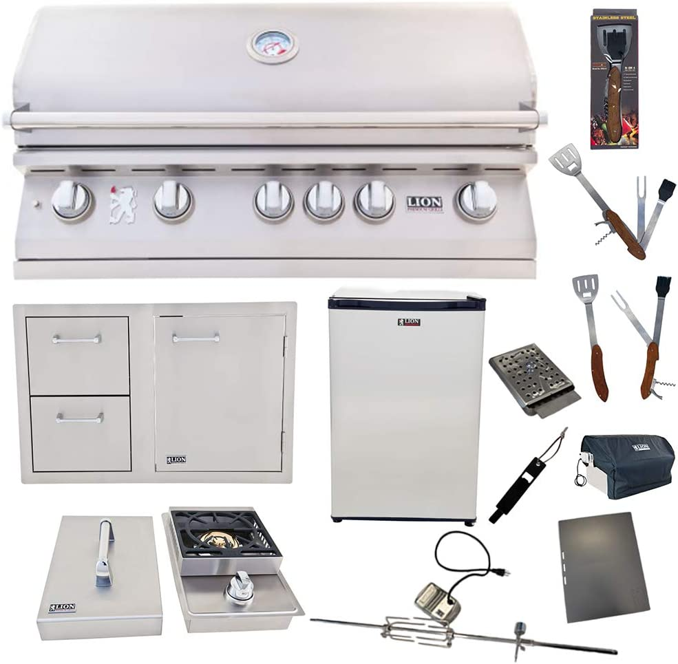 Lion Premium Grills 40-Inch Liquid Propane Grill L90000 with Single Side Burner, Eco Friendly Refrigerator, Door and Drawer Combo with 5 in 1 BBQ Tool Set Best of Backyard Gourmet Package Deal
