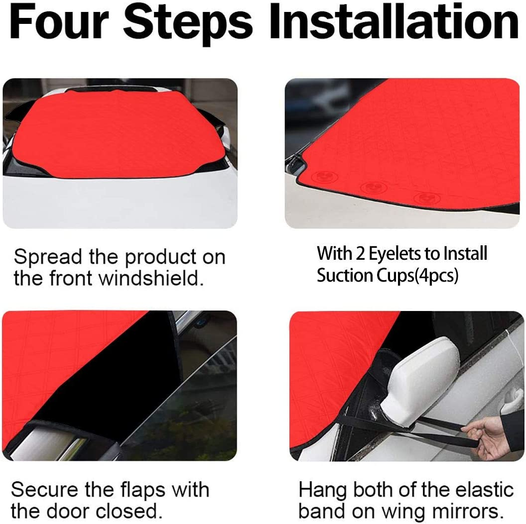 Extra Large Fits for Most Cars Foldable 72 x 46.5 in All Weather Snow and Frost GIPHOJO Windshield Snow Cover Protect Your Vehicle from UV Sun and Heat for Ice Harley Quinn