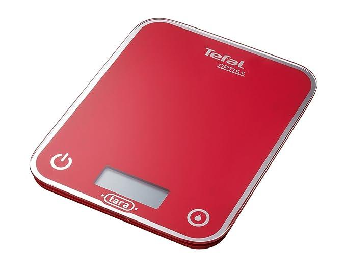 Tefal BC5003 Optiss-Báscula de Cocina, Color Rojo, Cristal esmaltado: Seb-TefalRowentMoulinxKrups: Amazon.es: Hogar