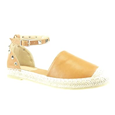 Angkorly Damen Schuhe Espadrilles Sandalen - Offen - Nieten - Besetzt - Quadrat - Seil Blockabsatz 2.5 cm