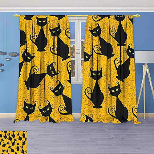 Philiphome Window Treatments Black Cat Pattern for Halloween On Orange Background Celebration Gift Graphic Patterns Black Living Room Bedroom Curtain 2 Panels -