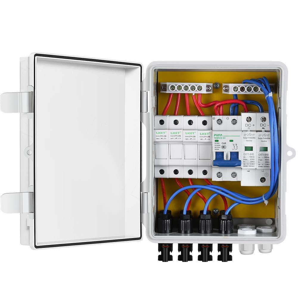 ECO-WORTHY Caja combinadora de 4 cuerdas PV Interruptor 10 A con cubierta de plástico ABS, caja eléctrica, impermeable, a prueba de fugas, caja combinadora fotovoltaica para sistema solar: Amazon.es: Industria, empresas y