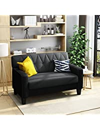 """<span class=""""a-offscreen"""">[Sponsored]</span>Melantha Button Stitch Two Toned Dark Charcoal Fabric Loveseat with Dark Grey Fabric Cushions"""