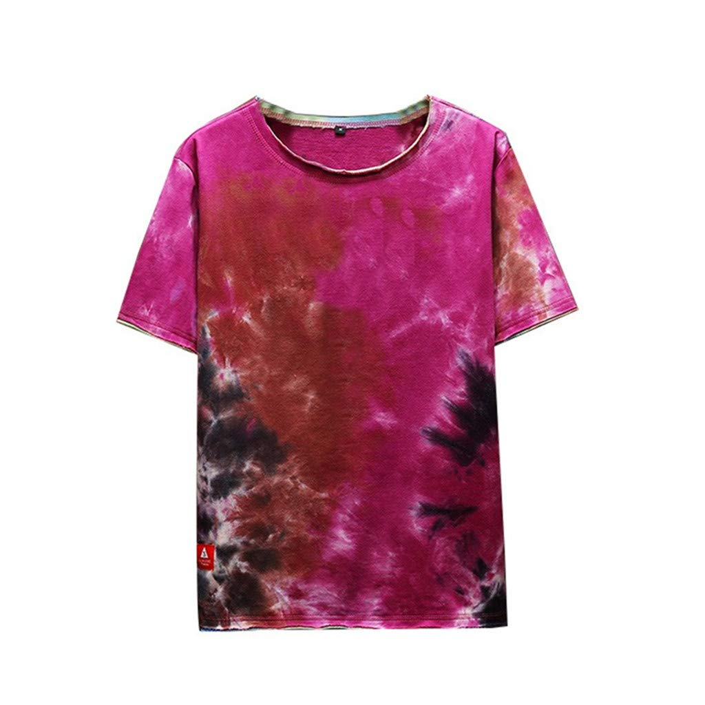 DONTAL Mens Summer Fashion Printed Tie-Dyed Short Sleeves Comfortable Top