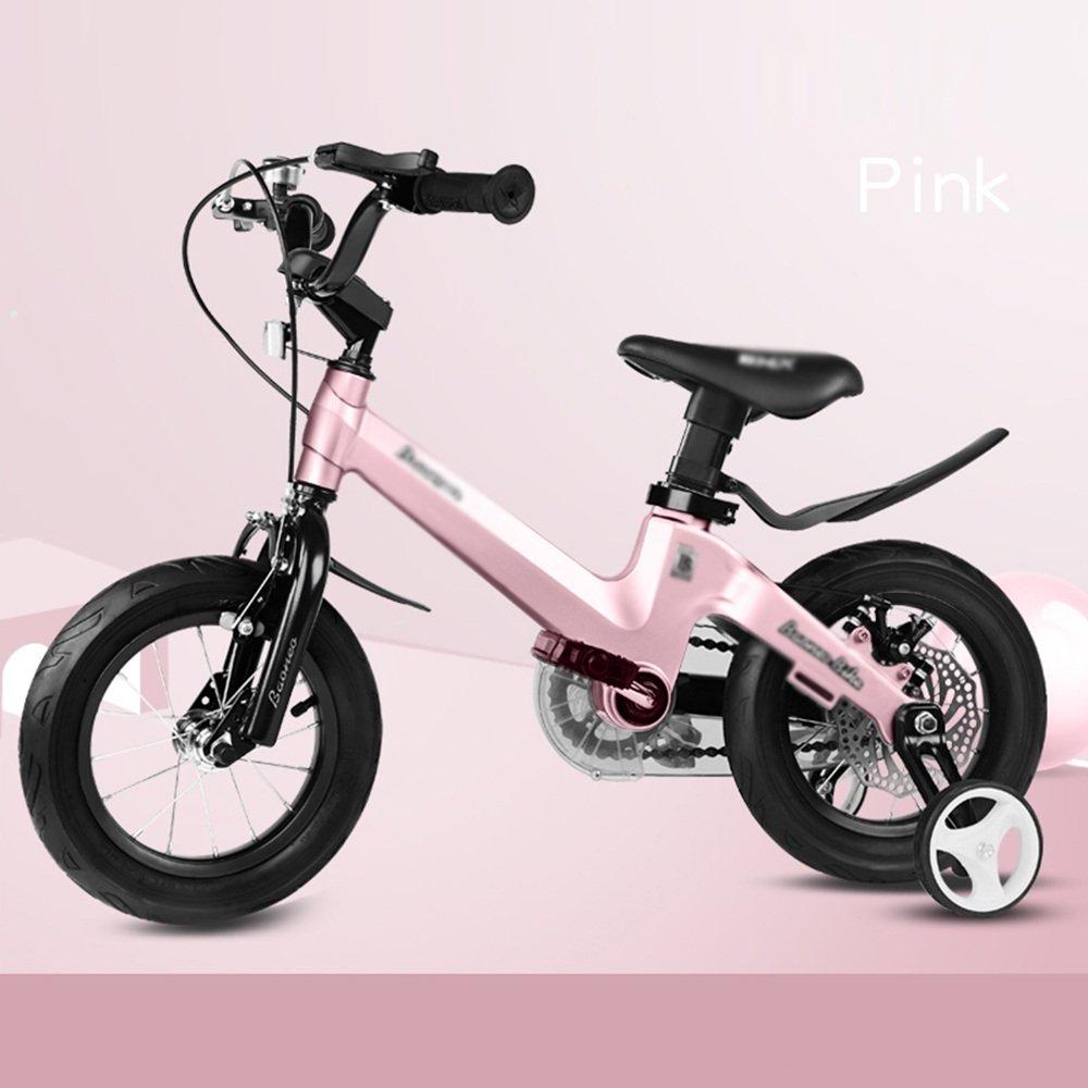 YANFEI 子ども用自転車 子供用自転車サイズ12-14-16-18グレーブルーピンクフェンダーとスタビライザーブラケット 子供用ギフト B07DZPQ83Hピンク ぴんく 18 inch