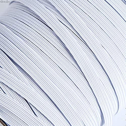 LGCD 3月6日/ 8/10/12ミリメートル5ヤード/ロット高弾性縫製弾性リボン弾性スパンデックスバンドトリムソーイングファブリックDIY服アクセサリー (Color : White, Size : 8mm 5yards)