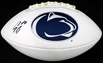 e170cb00a Saquon Barkley Autographed Penn State Nittany Lions White Logo Football  Beckett BAS